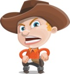 Little Cowboy Kid Cartoon Vector Character AKA Reynold the Lil' Cowboy - With Angry Face