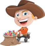 Little Cowboy Kid Cartoon Vector Character AKA Reynold the Lil' Cowboy - With Bag full of Halloween Treats
