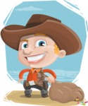 Little Cowboy Kid Cartoon Vector Character AKA Reynold the Lil' Cowboy - With Bag on a Background