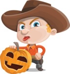 Little Cowboy Kid Cartoon Vector Character AKA Reynold the Lil' Cowboy - With Big Halloween Pumpkin