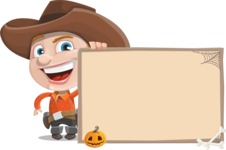 Little Cowboy Kid Cartoon Vector Character AKA Reynold the Lil' Cowboy - With Blank Halloween Whiteboard