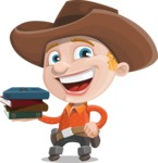 Little Cowboy Kid Cartoon Vector Character AKA Reynold the Lil' Cowboy - With Books