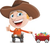 Little Cowboy Kid Cartoon Vector Character AKA Reynold the Lil' Cowboy - With Candy Wagoon
