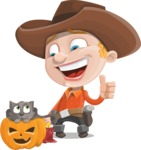 Little Cowboy Kid Cartoon Vector Character AKA Reynold the Lil' Cowboy - With Cat