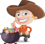 Little Cowboy Kid Cartoon Vector Character AKA Reynold the Lil' Cowboy - with Cauldron full of Sweets