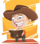 Little Cowboy Kid Cartoon Vector Character AKA Reynold the Lil' Cowboy - With Colorful Background