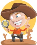 Little Cowboy Kid Cartoon Vector Character AKA Reynold the Lil' Cowboy - With Desert Background