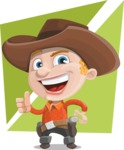 Little Cowboy Kid Cartoon Vector Character AKA Reynold the Lil' Cowboy - With Flat Background