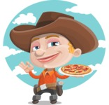Little Cowboy Kid Cartoon Vector Character AKA Reynold the Lil' Cowboy - With Food with Sky Background