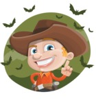 Little Cowboy Kid Cartoon Vector Character AKA Reynold the Lil' Cowboy - With Halloween Background with Bats