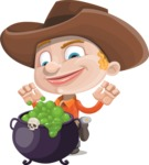 Little Cowboy Kid Cartoon Vector Character AKA Reynold the Lil' Cowboy - With Halloween Caldron