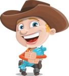 Little Cowboy Kid Cartoon Vector Character AKA Reynold the Lil' Cowboy - With Halloween Candy