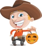 Little Cowboy Kid Cartoon Vector Character AKA Reynold the Lil' Cowboy - With Halloween Lantern