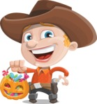 Little Cowboy Kid Cartoon Vector Character AKA Reynold the Lil' Cowboy - with Halloween Pumpkin and Candies