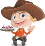 Little Cowboy Kid Cartoon Vector Character AKA Reynold the Lil' Cowboy - With Halloween Sweets