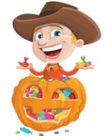 Little Cowboy Kid Cartoon Vector Character AKA Reynold the Lil' Cowboy - With Huge Pumpkin full of Treats