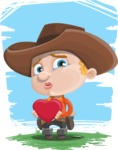 Little Cowboy Kid Cartoon Vector Character AKA Reynold the Lil' Cowboy - With Landscape Background