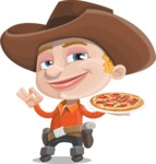 Little Cowboy Kid Cartoon Vector Character AKA Reynold the Lil' Cowboy - With Pizza