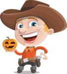 Little Cowboy Kid Cartoon Vector Character AKA Reynold the Lil' Cowboy - With Pumpkin