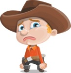 Little Cowboy Kid Cartoon Vector Character AKA Reynold the Lil' Cowboy - With Sad Face