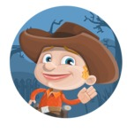 Little Cowboy Kid Cartoon Vector Character AKA Reynold the Lil' Cowboy - With Simple Style Halloween Background