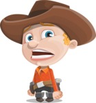 Little Cowboy Kid Cartoon Vector Character AKA Reynold the Lil' Cowboy - With Stunned Face