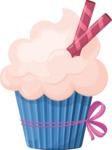 Cupcake Vector Graphics Maker - Creamy cupcake with delicious sticks
