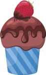Cupcake Vector Graphics Maker - Chocolate muffin with a strawberry
