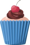 Cupcake Vector Graphics Maker - Vanilla muffin with cherry