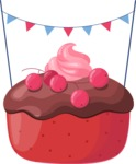 Cupcake Vector Graphics Maker - Cupcake with currant and chocolate