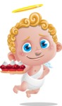 Cupid Cartoon Character - Cartoon Cupid with Romantic Cupcakes
