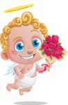 Cupid Cartoon Character - Cartoon Cupid with Roses