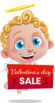 Cupid Cartoon Character - Cartoon Cupid with Valentine's Day Sale Banner