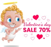 Cupid Cartoon Character - Cartoon Cupid Presenting Valentine's Day Sale