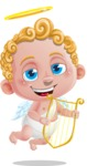 Cupid Cartoon Character - Cartoon Cupid with Harp