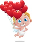 Cupid Cartoon Character - Cartoon Cupid with Heart Balloons