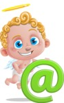 Cupid Cartoon Character - Cartoon Cupid with Web Sign
