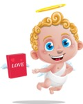 Cupid Cartoon Character - Cartoon Cupid with Book for Love