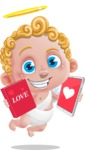 Cupid Cartoon Character - Cartoon Cupid Wondering Book or Tablet