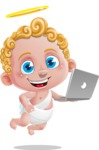 Cupid Cartoon Character - Cartoon Cupid with Laptop 1