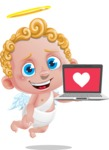 Cupid Cartoon Character - Cartoon Cupid with Laptop 3