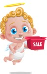 Cupid Cartoon Character - Cartoon Cupid with Sale Box