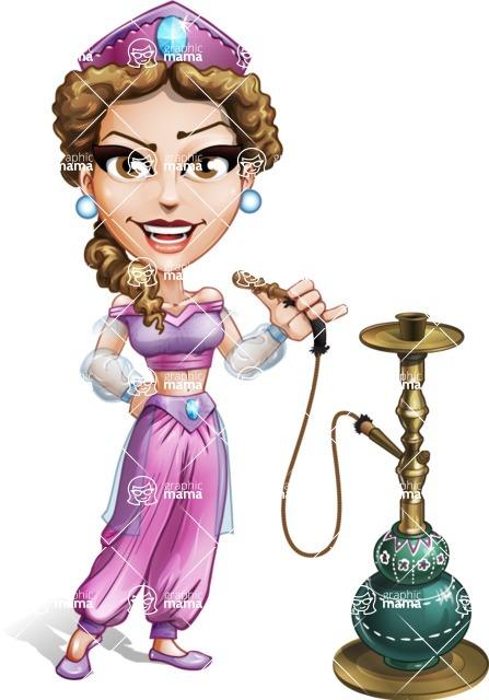 Exotic Arab Female Dancer Cartoon Vector Character Hookah 1 Graphicmama