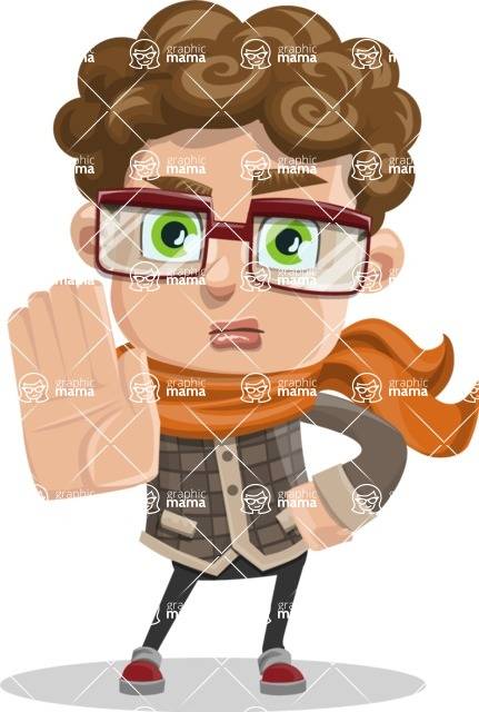 Boy With Curly Hair Cartoon Vector Character Stop 1 Graphicmama