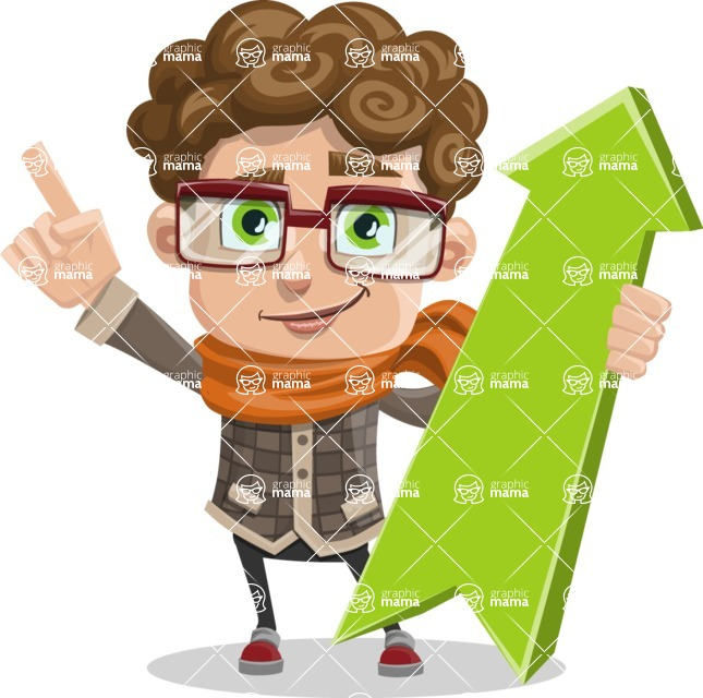 Boy With Curly Hair Cartoon Vector Character Pointer 1