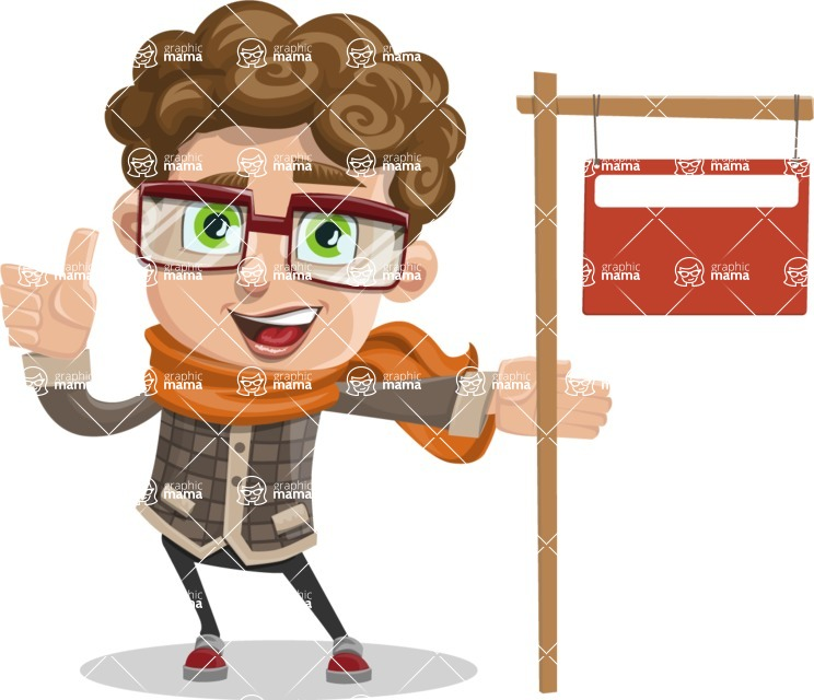 Boy With Curly Hair Cartoon Vector Character Sign 9 Graphicmama