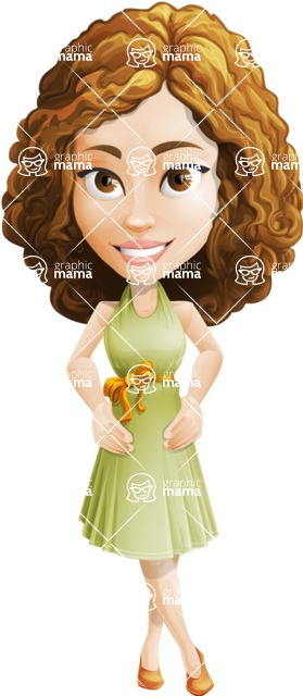 Vector Sweet Lady Cartoon Character - Normal