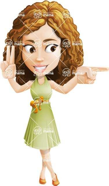 Vector Sweet Lady Cartoon Character - Point 2