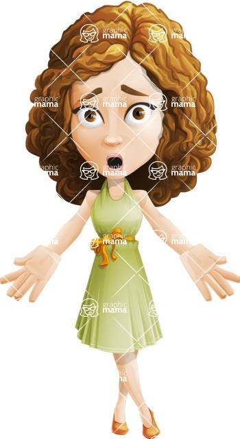 Vector Sweet Lady Cartoon Character - Stunned