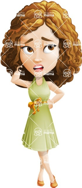 Vector Sweet Lady Cartoon Character - Confused